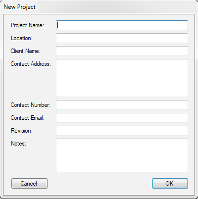 PatchCAD Project Settings Window