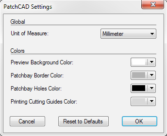 PatchCAD Settings Window