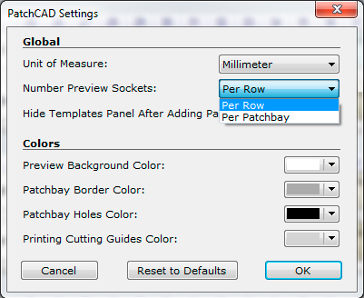 PatchCAD - Settings Window - Sockets Numbering