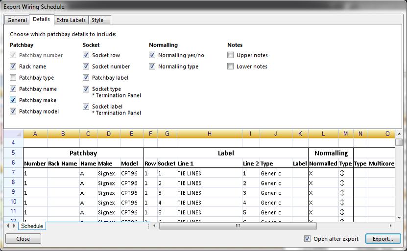PatchCADv2.3 - Export Wiring Schedule - Details