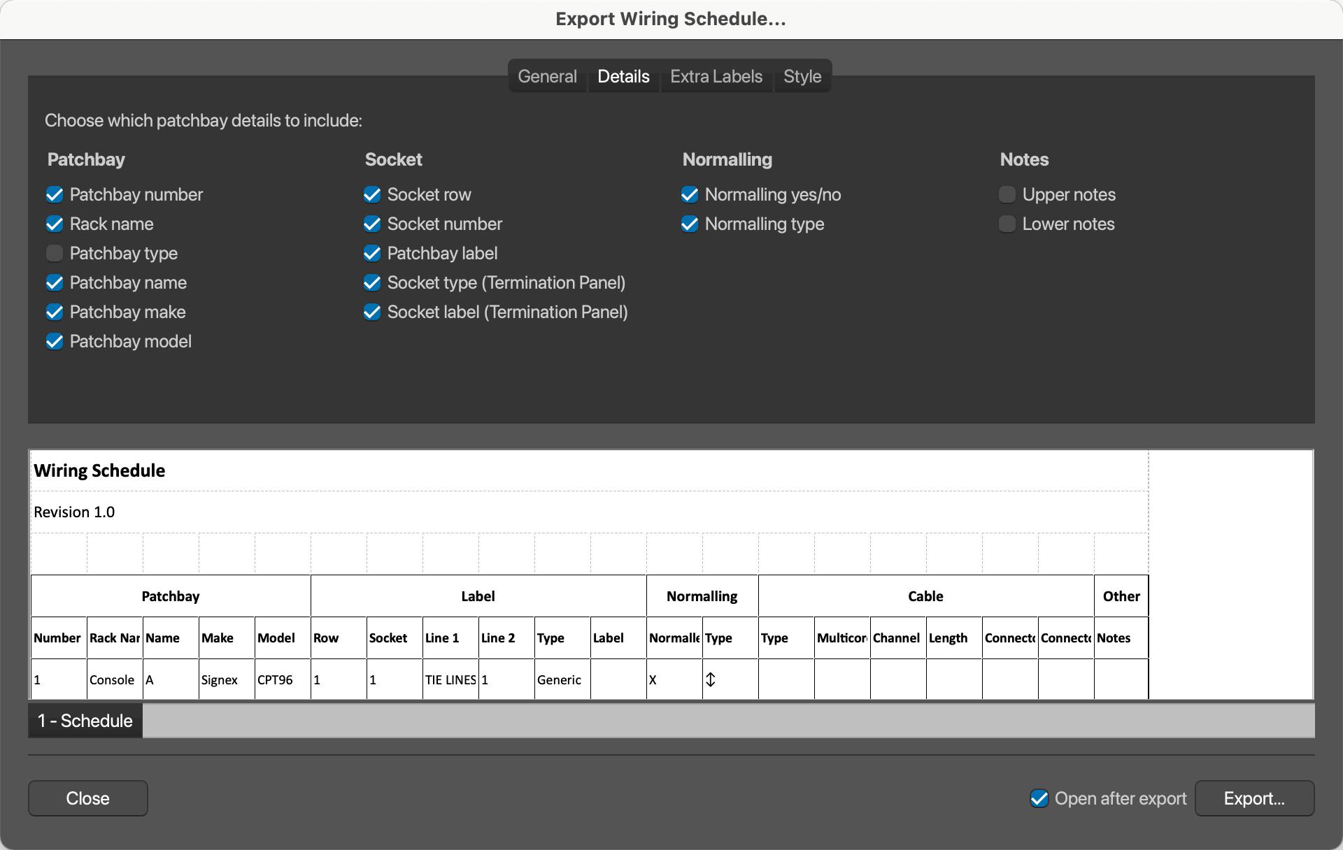 PatchCAD 3 - Export Wiring Schedule - Details